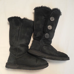 Ugg Sz 6 Bailey Button Boots Tall Black Triplet